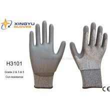 Hppe Shell PU beschichteter Cut-Resistance Sicherheits-Handschuh (H3101)