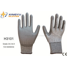 Hppe Shell PU Coated Cut-Resistance Safety Work Glove (H3101)