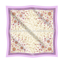 Kerchief Flower Pattern Silk Chiffon Screen Printed Kerchief