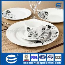 Fournisseur de produits en gros de la vaisselle d'hôtels en gros avec fleur noire et grise