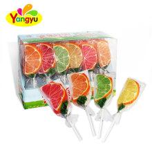Good Taste Halal Orange Shape Jelly Lollipop Gummy Lollipops
