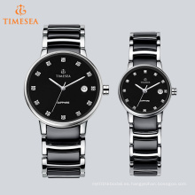 Reloj de acero inoxidable de moda con indicadores de diamante para parejas 70041