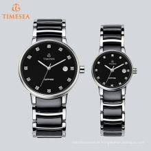 Relógio de aço inoxidável de moda com indicadores de diamante para casais 70041