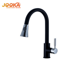 Black deck polished mounted pull out kitchen sink mixer tap