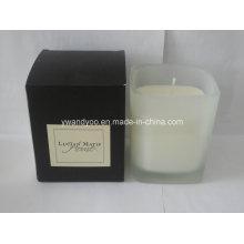 Bougie parfumée organique de pot en verre carré