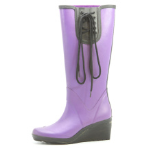 Purple Wedge Heel Rubber Rain Boots With Black Lace