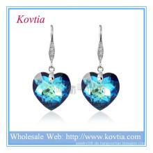 Großhandel österreichischen Kristall einfache Haken Schmuck blau Herz Kristall Ohrring in Silber Haken