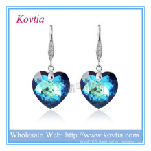 Wholesale austrian crystal simple hook jewelry blue heart crystal earring in silver hook