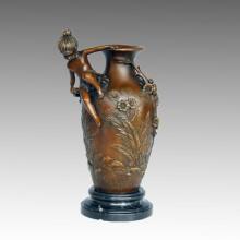 Vase Statue Junge & Mädchen Bronze Jardiniere Skulptur, D. Fondeurs TPE-575/576