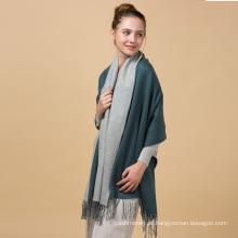 2017 senhoras de venda a quente padrão de planície nobre verde escuro e cinza cachecol de lã de malha de cor azul