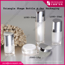 Chine Acrylic Jar Triangle Shape 10ml 15ml 30ml 50ml Pink Sweet Cosmetic Jar