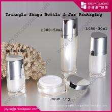 China Acrylic Jar Triangle Shape 10ml 15ml 30ml 50ml Pink Sweet Cosmetic Jar