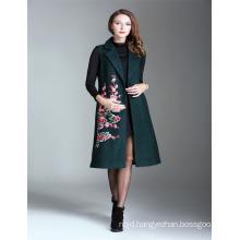 Winter Dark Green Alibaba Woman Embroidered 2017 Ladies Sleeveless Trench Coat