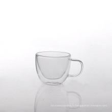 Tasse à thé à double paroi en verre borosilicaté de 4,5 oz