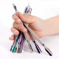 Nail Art Rainbow Color Double Side Stainless Steel Manicure Tools Cuticle Pusher
