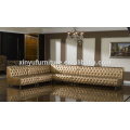 Golden L shape design living room corner sofa set KW365