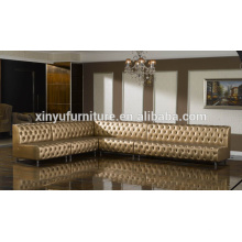 Golden L shape design living room corner sofa set KW365