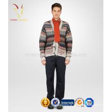 V Neck Multicolor Listrado Cashmere Cardigan Sweater Para Homens