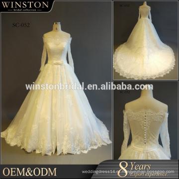 Профессиональная фабрика Китая кружева с длинным рукавом короткие свадебные платья один кусок девочек бальные платья