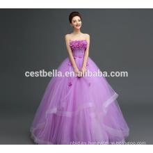 Personalizado hecho en China Appliqued Purple Lace Puffy Tulle vestido de novia 2017