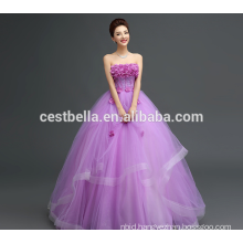 Customized Made In China Appliqued Purple Lace Puffy Tulle Wedding Dress 2017