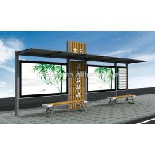 THC-43BL pequeño refugio de parada de autobús con pequeña caja de iluminación