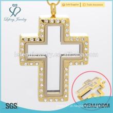 Cruz pingente medalhão em jóias de ouro, pingente de fada porta locket, cruz transversal aberto