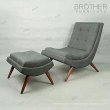 Chaise de salon en bois cintré chaise longue avec repose-pieds