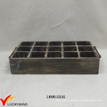 Vintage Wooden Chic Jewelry Tray Brown with Iron Handle