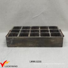 Vintage madeira chique bandeja de jóias marrom com alça de ferro