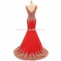 whloesale 2017 negro, color rojo vestido de fiesta occidental bordado vestido de fiesta de encaje de longitud del piso largo con cuello en v profundo