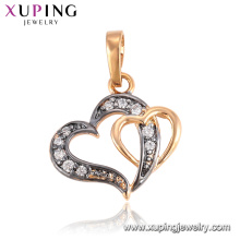 33291 Xuping fashion jewelry molds for sale, delicate double heart shaped charm pendant
