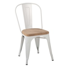 Cafe Restaurant Metal Tolix Chair with wood seat