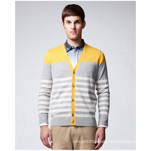 Independent Design V Neck Striped Sweater Cardigan