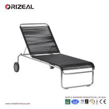 Chaise longue en plein air avec tissage en PVC rond OZ-OR049