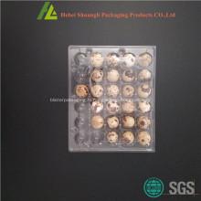 Boîte en plastique de stockage d'oeufs à caille claire avec couvercle à charnière