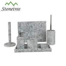 Vente chaude Made In China 7pcs Ensemble complet d'accessoires de salle de bains en marbre