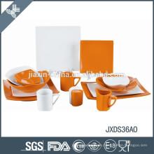 Juego de cena de porcelana fina, forma cuadrada, juego de cena color 36 piezas