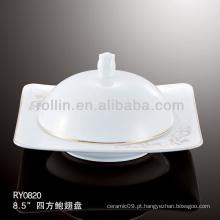 Saudável estilo japão branco placa quadrada durável especial com tampa