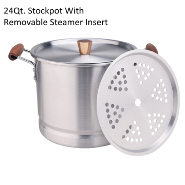 Tamale pot to steam tamales with steamer insert