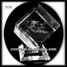 K9 Laser 3D Dragon à l'intérieur du Cube de cristal