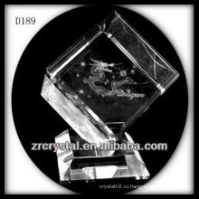 K9 3D лазерная Дракон внутри кристалла куба
