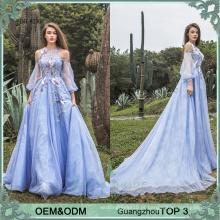 Vestido feito sob encomenda do convidado do casamento, mais o tamanho dos vestidos de vestidos de casamento azul roxo popular nos vestidos de manga comprida do Reino Unido