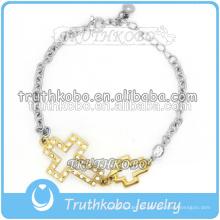 Vacío cruz de oro encanto pulsera de acero inoxidable brazalete de cristal brazalete brazalete pulsera