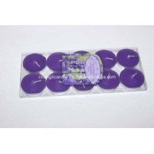 Bougie parfumée de bougie de couleur dans la boîte de PVC