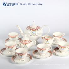 Sistema de azúcar de cerámica del café del té del envase del diseño real 15pcs, sistema de café antiguo de la porcelana