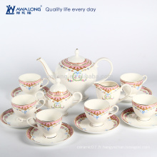 15pcs Royal Design en céramique Canister Tea Coffee Sugar Set, ancien ensemble de café en porcelaine