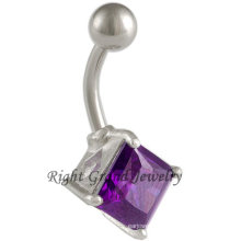 316L Surgical Steel Purple Cubic Zircon Belly Button Ring
