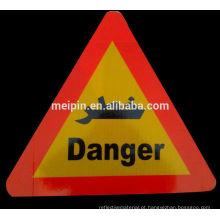 Sinal de aviso de perigo de segurança reflexiva