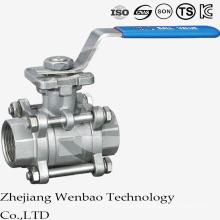 Válvula de bola manual de la plataforma del bastidor de 3PC ISO con la manija de la cerradura